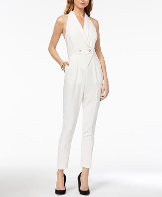 XOXO Juniors' Shawl-Collar Racerback Jumpsuit