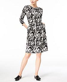 Weekend Max Mara Oca Printed Drape-Neck A-Line Dress