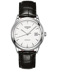 Longines Men's Swiss Automatic Flagship Black Leather Strap Watch 38.5mm