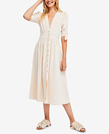 Free People Love Of My Life Cotton Midi Shirtdress
