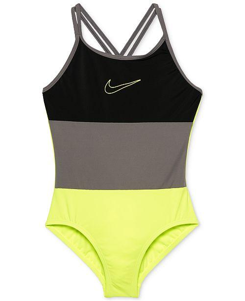 6140614049 Nike 1-Pc. Colorblocked Swimsuit, Big Girls & Reviews - Swimwear ...