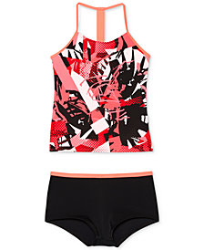 Nike 2-Pc. Printed T-Back Tankini Swimsuit, Big Girls
