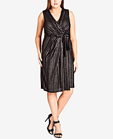 City Chic Trendy Plus Size Metallic-Stripe Wrap Dress