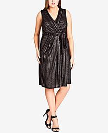 City Chic Trendy Plus Size Metallic-Stripe Wrap Dress