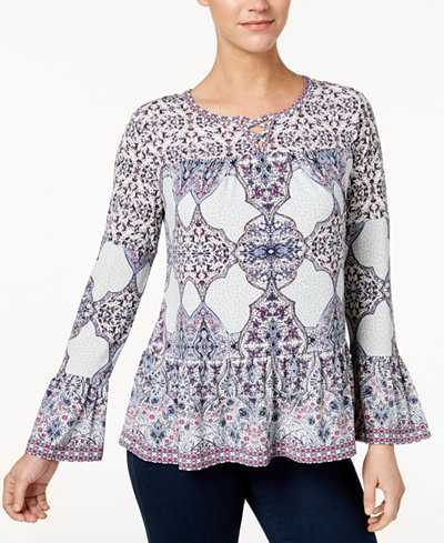 Style & Co Petite Printed Lattice-Neck Flounce Top, Created for Macy's