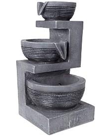 Pure Garden 3-Tier Cascading Basin LED Table Fountain