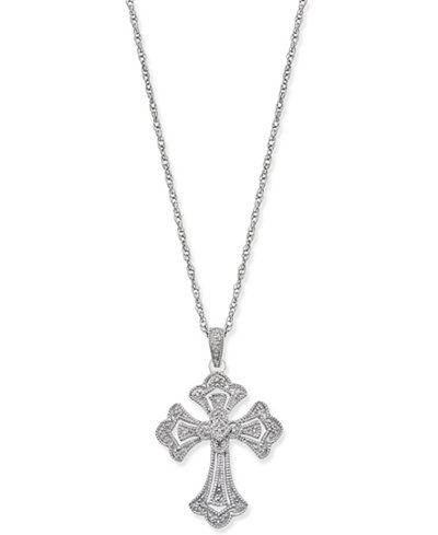 Diamond Cross Pendant Necklace (1/7 ct. t.w.) in Sterling Silver