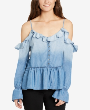 William Rast Wolfe Ruffled Cold-Shoulder Top