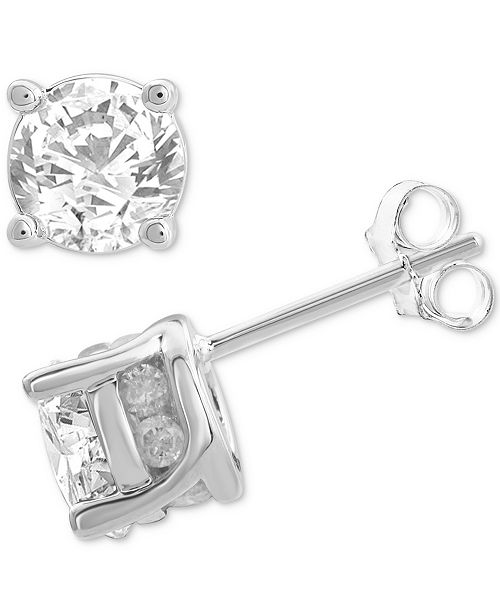 Macy's Diamond Stud Earrings (2 ct. t.w.) in 14k White Gold