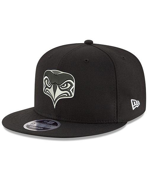 46c3d54f042 ... New Era Seattle Seahawks Black White ALT 9FIFTY Snapback Cap ...