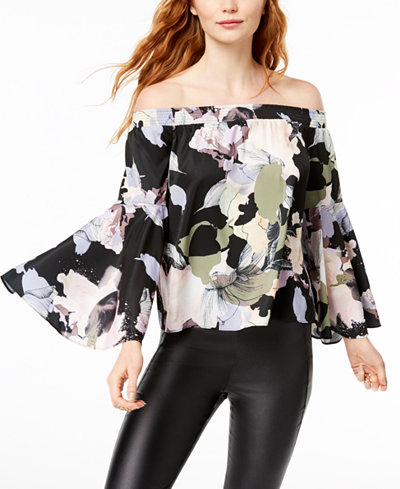 Bar III Smocked-Sleeve Off-The-Shoulder Blouse, Created for Macy's