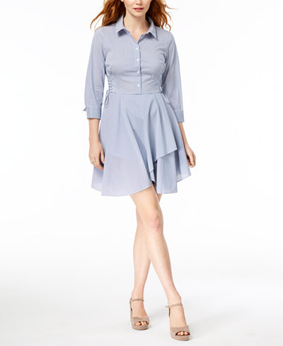 Bar III Half-Button Flounce Shirtdress, Created for Macy's