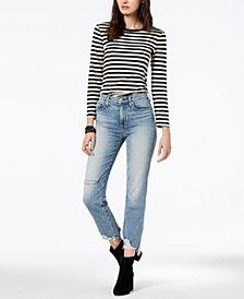 Hudson Jeans Ripped Straight-Leg Ankle Jeans