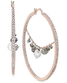 "Paul & Pitü Naturally Two-Tone Pavé & Imitation Pearl Beaded Trapeze 2-2/5"" Hoop Earrings"