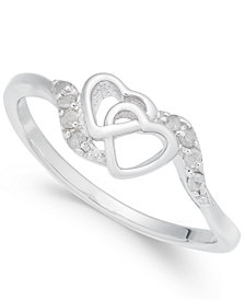 Diamond Interlocked Heart Ring (1/10 ct. t.w.) in Sterling Silver