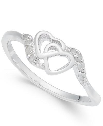 Diamond Interlocked Heart Ring (1/10 ct. t.w.) in Sterling Silver
