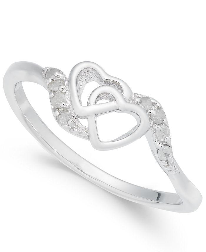 Macy's - Diamond Interlocked Heart Ring (1/10 ct. t.w.) in Sterling Silver