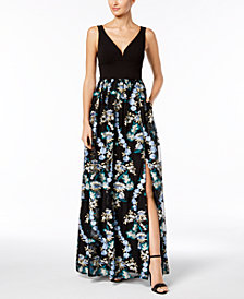 Adrianna Papell Embroidered Mesh Gown