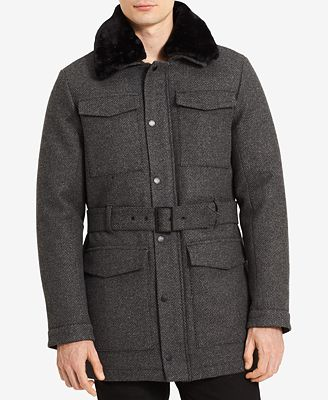 Calvin Klein Men's Four-Pocket Belted Wool Jacket