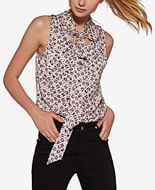 Avec Les Filles Leopard-Print Tie-Neck Top
