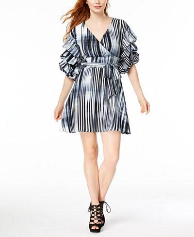 Bar III Printed Ruffle-Sleeve Wrap Dress, Created for Macy's