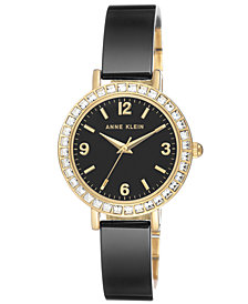 Anne Klein Women's Black Ceramic Bangle Bracelet Watch 32mm