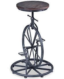 Harlem Adjustable Barstool in Industrial Gray finish with Pine Wood seat