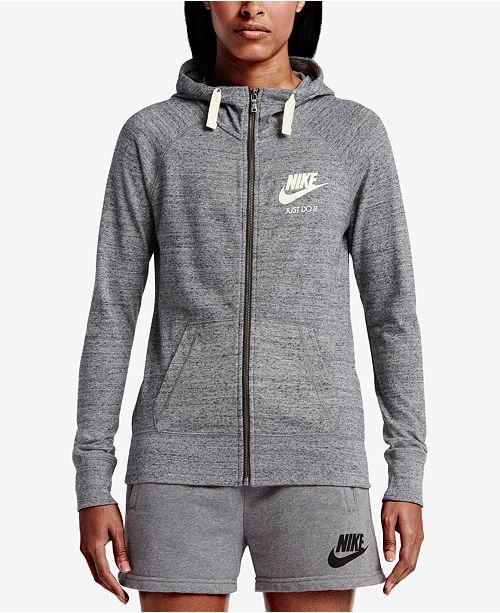 db17e15fba892 Nike Gym Vintage Full-Zip Hoodie   Reviews - Tops - Women - Macy s