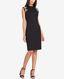 Tahari ASL Studded-Shoulder Sheath Dress