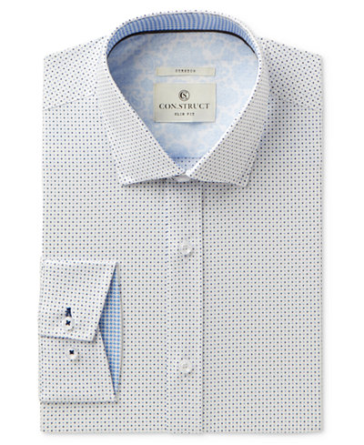 Con.Struct Men's Slim-Fit Stretch Blue Dot Dress Shirt, Created for Macy's