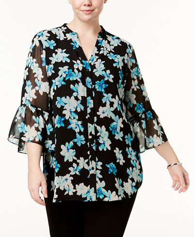 Calvin Klein Plus Size Printed Bell-Sleeve Tunic