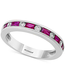 Bridal by EFFY® Sapphire (5/8 ct. t.w.) & Diamond (1/6 ct. t.w.) Band in 18k White Gold (also available in Emerald or Ruby)