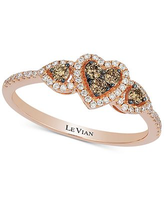 Le Vian Chocolatier Diamond Heart Ring 1 3 ct t w in 14k Rose