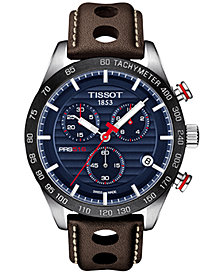 Tissot Men's Swiss Chronograph T-Sport PRS 516 Brown Leather Strap Watch 42mm