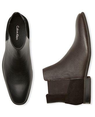 Calvin Klein Men's Larry Double Gore Leather Chelsea Boots