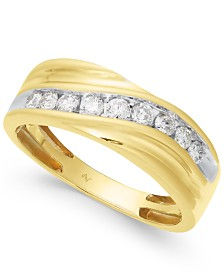 Men's Diamond Swirl Band (1/2 ct. t.w.) in 10k Gold