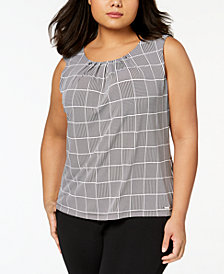 Calvin Klein Plus Size Pleated Grid-Print Shell