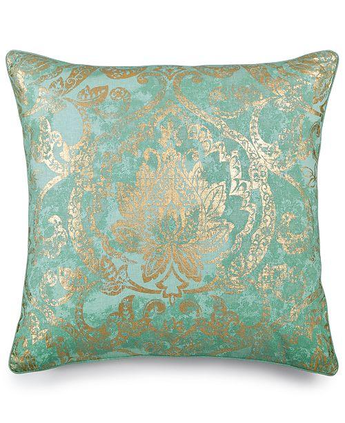Lacourte LAST ACT Lotus Seafoam FauxLinen MetallicPrint 40 Best Seafoam Decorative Pillows
