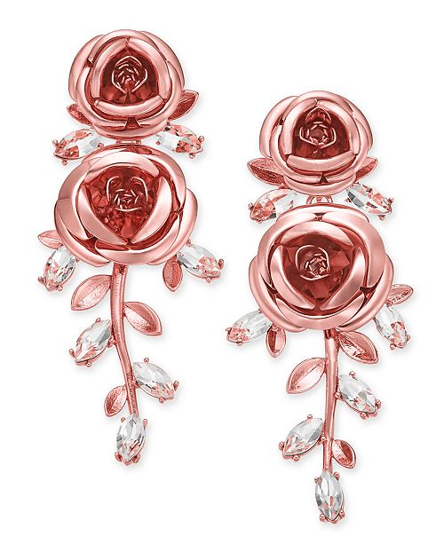 1da128149e3f2 kate spade new york Rose Gold-Tone Crystal Flower Drop Earrings ...