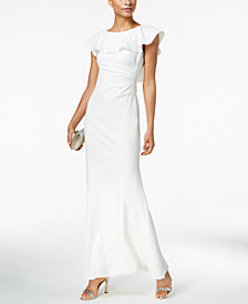 Jessica Howard Ruffled Lace V-Back Gown