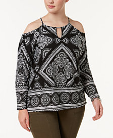 I.N.C. Plus Size Scarf-Print Cold-Shoulder Keyhole Top, Created for Macy's
