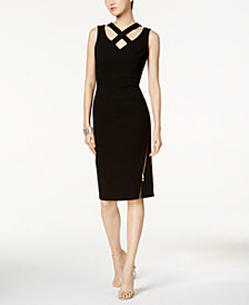Ivanka Trump Criss-Cross Lattice Sheath Dress