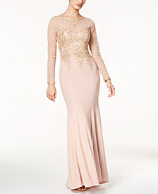 Xscape Embroidered Mesh Mermaid Gown