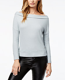 Lucky Brand Convertible Waffle-Knit Top
