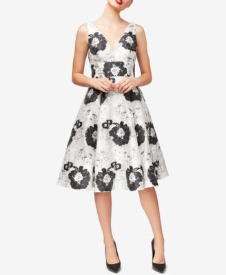 Betsey Johnson Women/'s Floral Jacquard Fit-and-Flare Dress