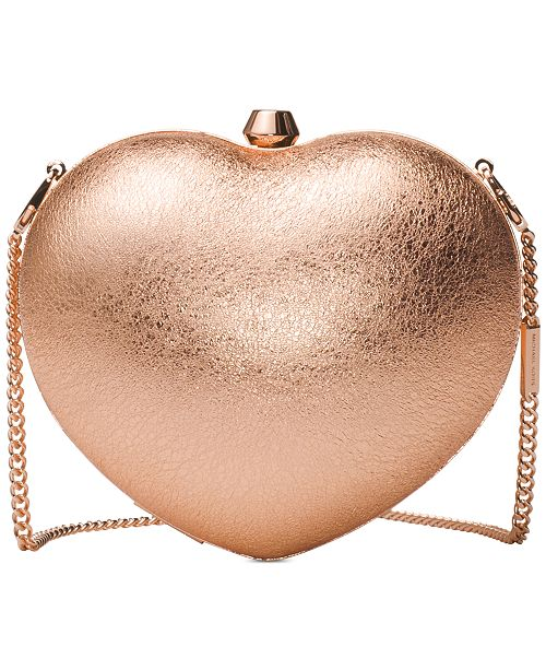 Pearlized Small Heart Box Clutch
