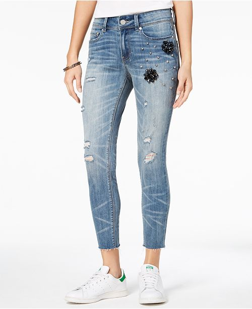 fd24ca3b60662 ... Indigo Rein Juniors  Ripped Embellished Skinny Ankle Jeans ...