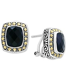 Eclipse by EFFY® Onyx (10 x 8mm) Stud Earrings in Sterling Silver & 18k Gold