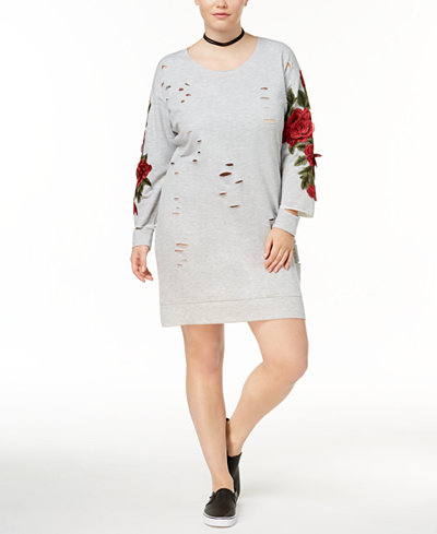 Almost Famous Trendy Plus Size Ripped Sweatshirt Dress