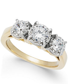 Diamond Trinity Engagement Ring (1 ct. t.w.) in 14k Gold